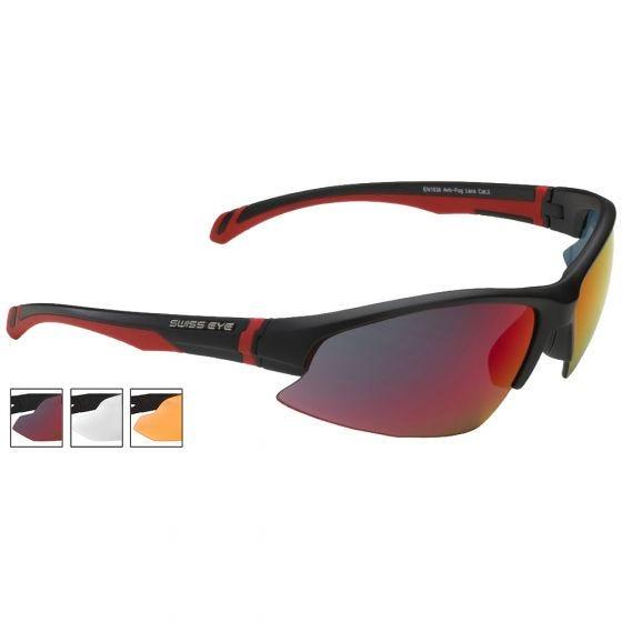 Gafas de sol Swiss Eye Flash con lentes ahumadas BR Revo + naranjas + transparentes y montura en negro mate