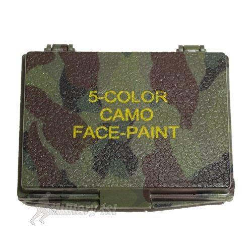 Pintura facial de camuflaje con espejo Mil-Tec de 5 colores en Woodland