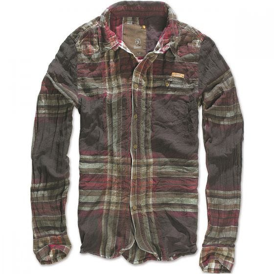 Camisa Brandit Raven Wire Check de cuadros en Choco / rojo