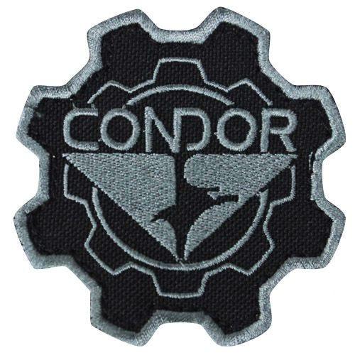 Parche Condor con diseño de rueda dentada en negro