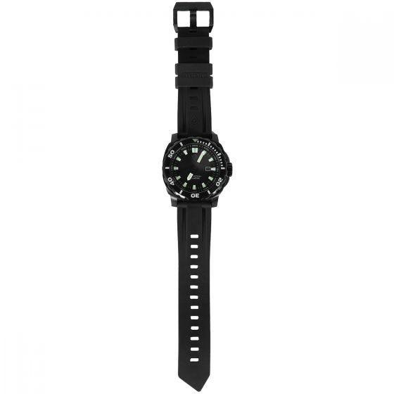 Reloj de pulsera sumergible First Tactical Fathom con caja de acero inoxidable en negro