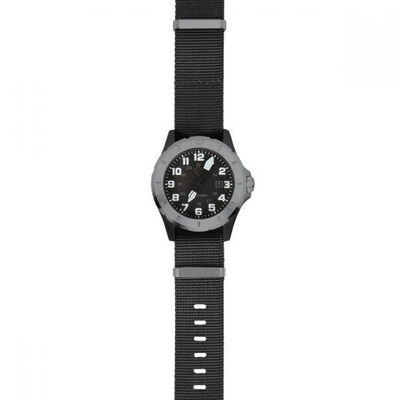 Reloj First Tactical Ridgeline Carbon Field en Brushed Stainless y negro