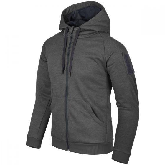 Sudadera con capucha Helikon Urban Tactical con cremallera completa jaspeada en negro-gris