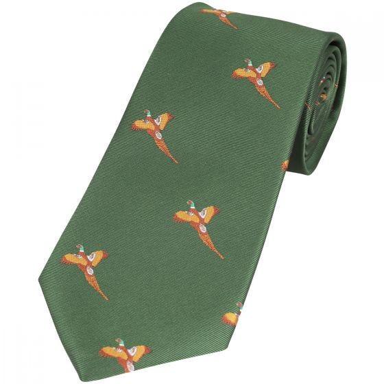 Corbata Jack Pyke con diseño de faisanes en verde