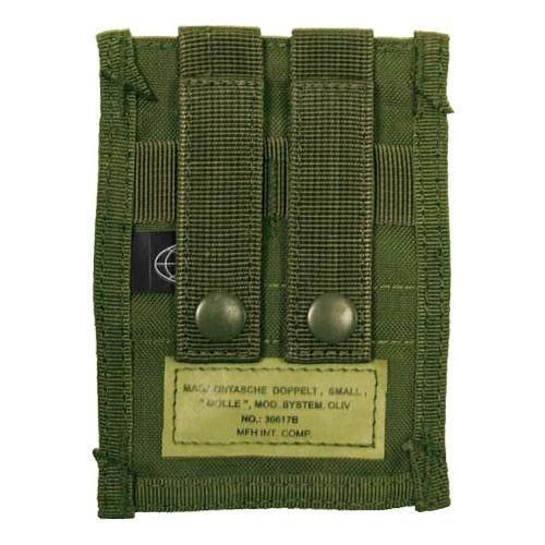 Portacargador doble MFH de cartuchos de 9 mm con sistema MOLLE pequeño en verde oliva