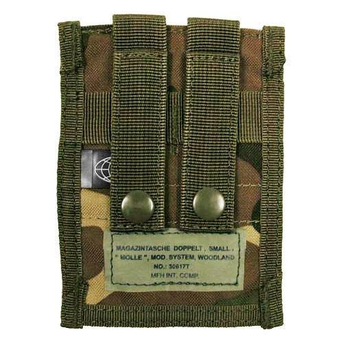 Portacargador doble MFH de cartuchos de 9 mm con sistema MOLLE pequeño en Woodland
