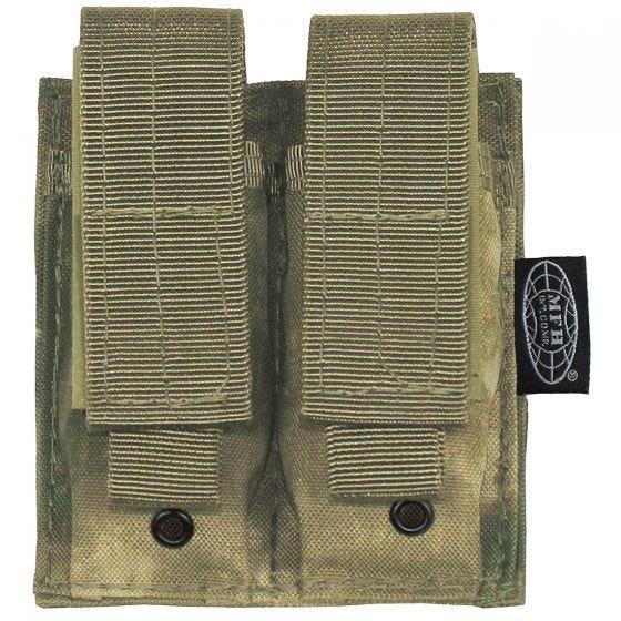 Portacargador doble pequeño MFH de cartuchos de 9 mm con sistema MOLLE en HDT Camo FG