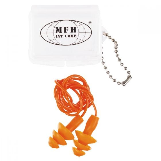 Tapones para los oídos MFH con funda en naranja