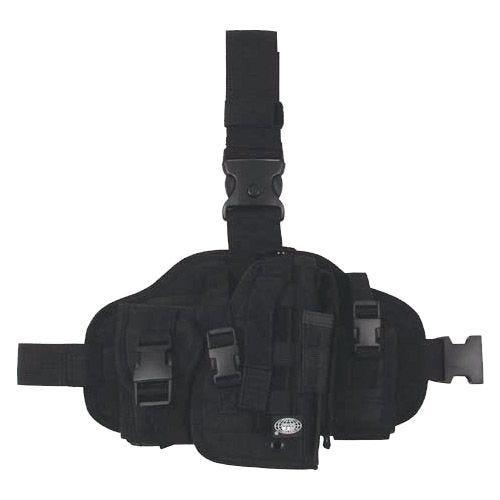Funda de pistola para pierna MFH con portacargadores y sistema MOLLE en negro