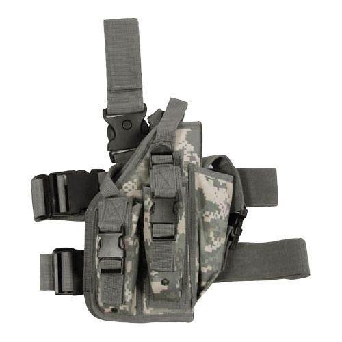 Funda de pistola para pierna MFH con 3 portacargadores en ACU Digital