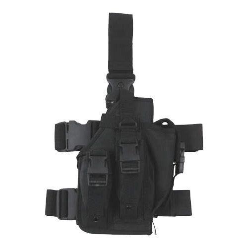 Funda de pistola para pierna MFH con 3 portacargadores en negro