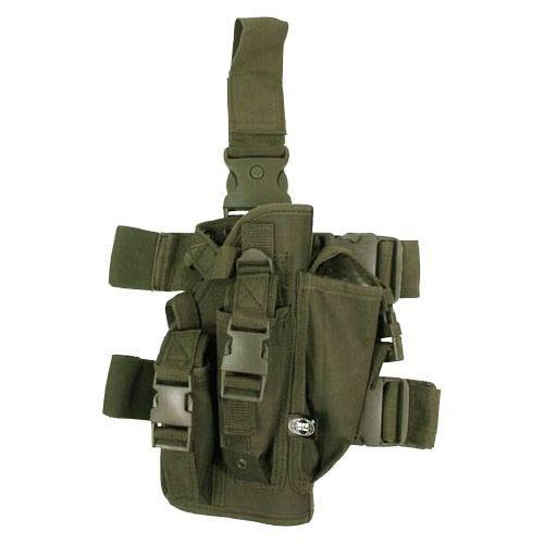 Funda de pistola para pierna MFH con 3 portacargadores en verde oliva