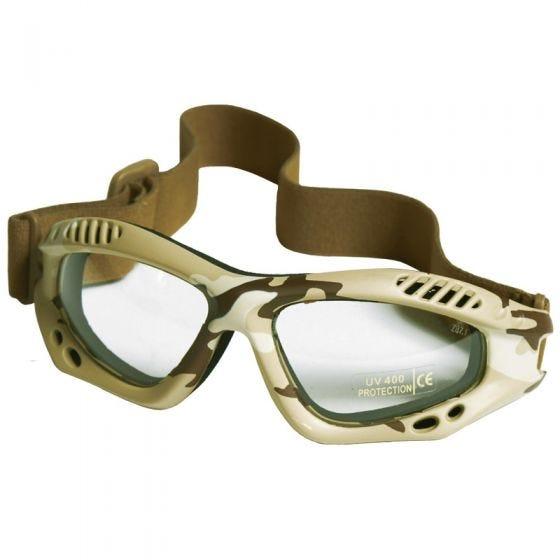 Gafas de protección Mil-Tec Commando Air Pro con lentes transparentes y montura en Desert