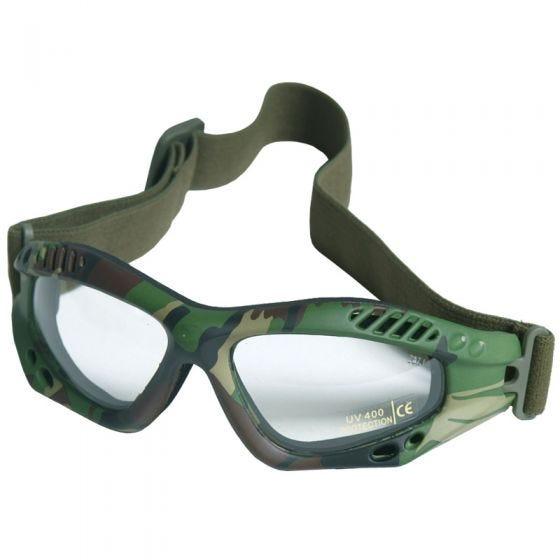Máscara de protección Mil-Tec Commando Air Pro con lentes transparentes y montura en Woodland