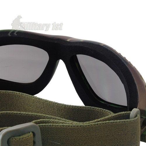 Gafas de protección Mil-Tec Commando Air Pro con lentes ahumadas y montura en Woodland