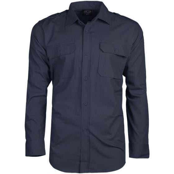 Camisa de manga larga Mil-Tec de tejido RipStop en Navy Blue