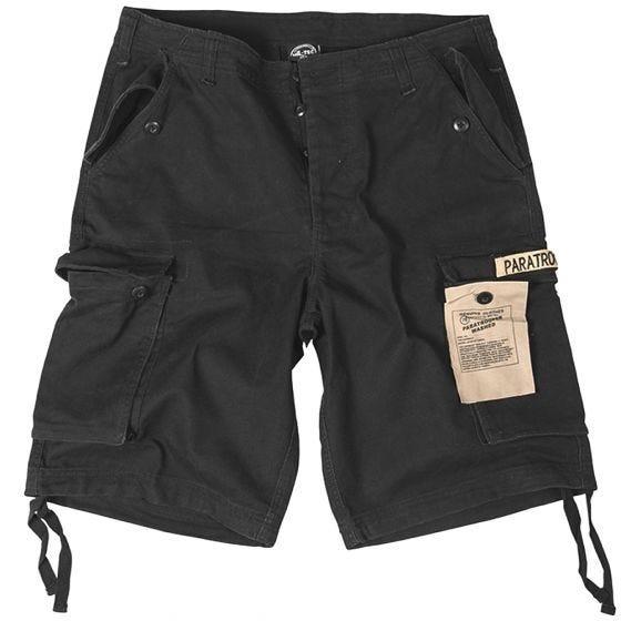 Pantalones cortos prelavados estilo cargo de paracaidista militar Mil-Tec en negro