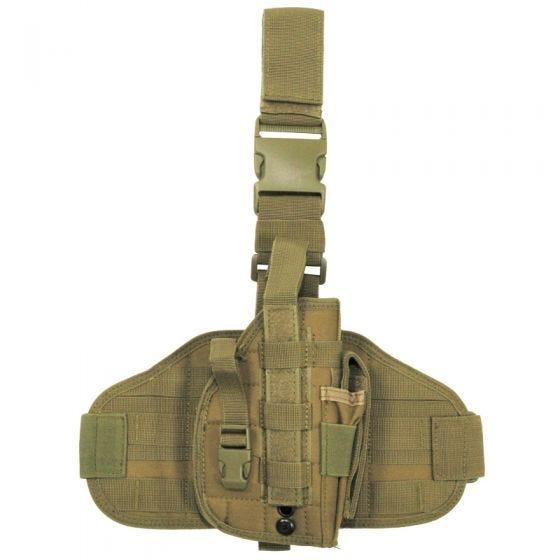 Funda de pistola para pierna MFH Tactical con sistema MOLLE en Coyote