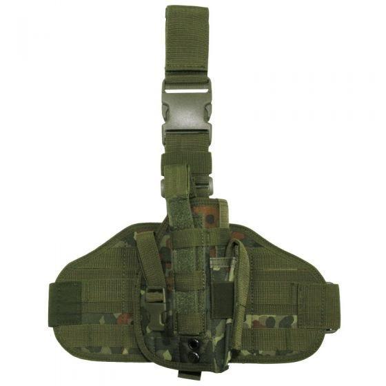 Funda de pistola para pierna MFH Tactical con sistema MOLLE en Flecktarn