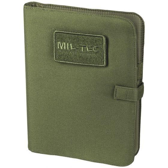 Cuaderno táctico con funda Mil-Tec de tamaño mediano en verde oliva