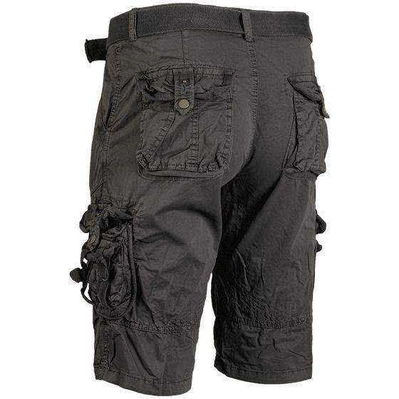 Pantalones cortos de supervivencia Mil-Tec prelavados de estilo vintage en negro