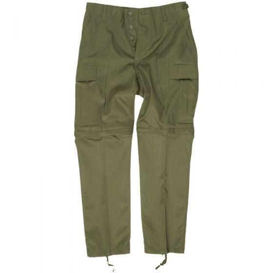 Pantalones de combate Mil-Tec con perneras de quita y pon en verde oliva