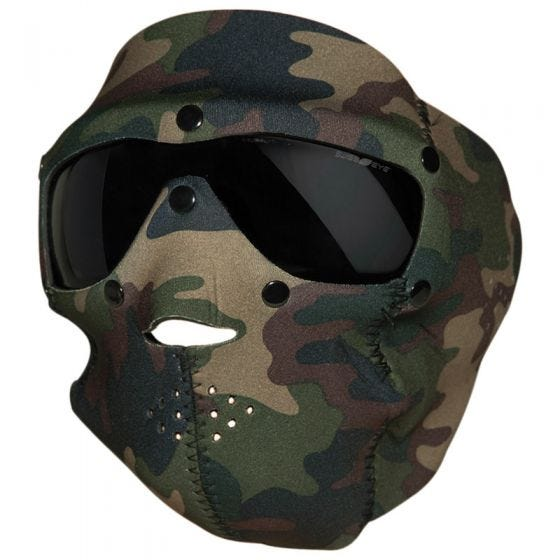 Mascara de neopreno con gafas protectoras Swiss Eye con lentes ahumadas en Woodland