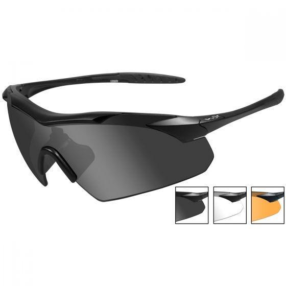 Gafas Wiley X WX Vapor con lentes ahumadas + transparentes + naranja claro y montura en negro mate