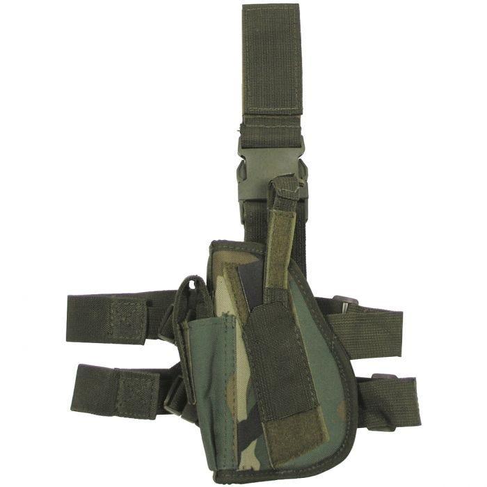 Funda de pistola para pierna izquierda MFH en Woodland Camo