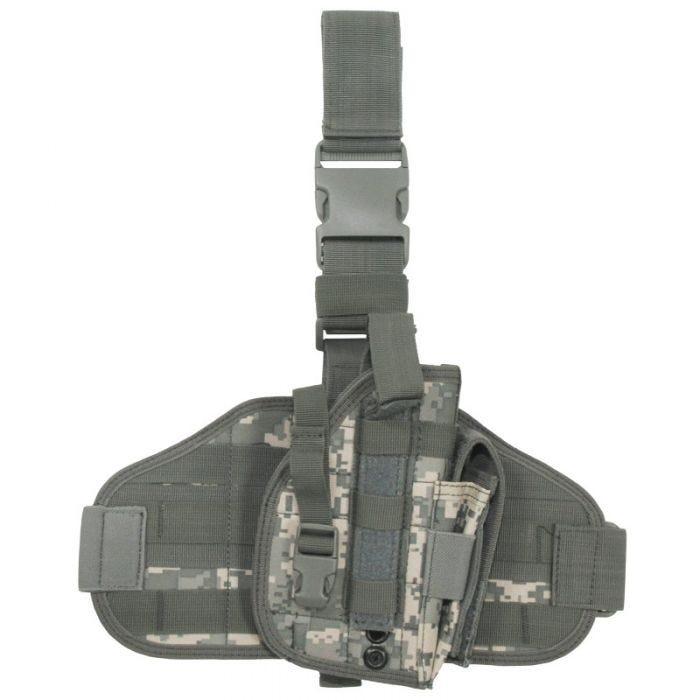 Funda de pistola para pierna MFH Tactical con sistema MOLLE en ACU Digital