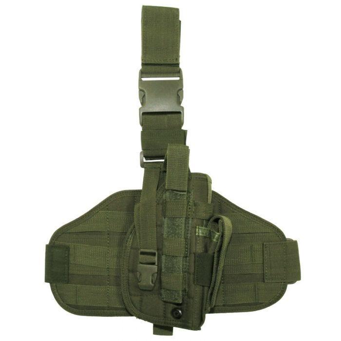 Funda de pistola para pierna MFH Tactical con sistema MOLLE en verde oliva