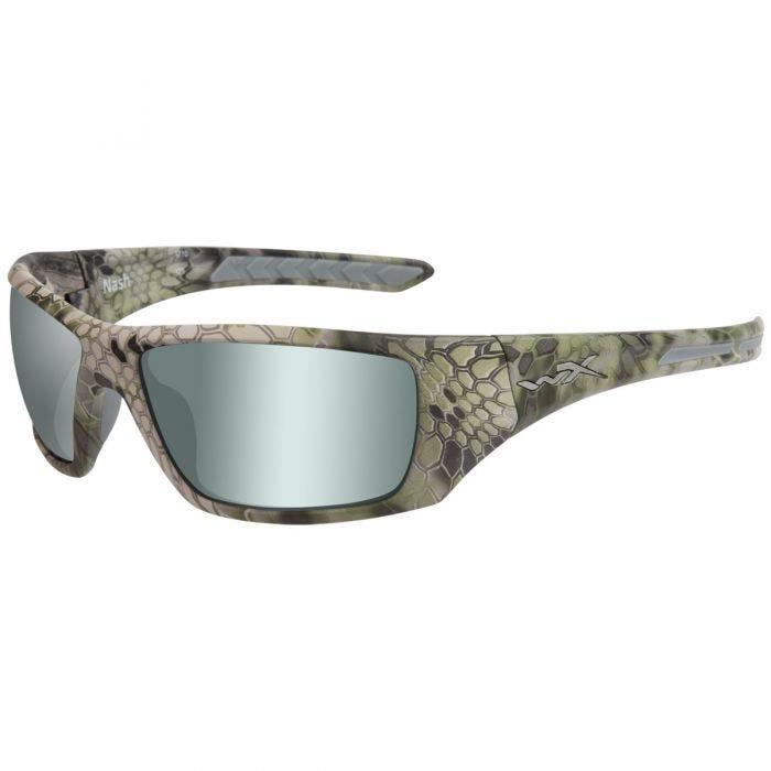 Wiley X WX Nash Glasses - Polarized Green Platinum Flash Lens / Kryptek Altitude Frame