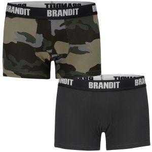 Pack de 2 calzoncillos bóxer Brandit con logo en Dark Camo / negro
