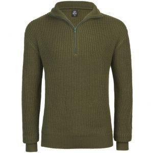Suéter con cremallera Brandit Marine en verde oliva