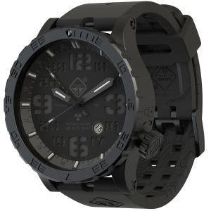 Reloj de titanio con tritio Hazard 4 Heavy Water Diver Blackout con manecilla GMT en negro y detalles en azul y rojo