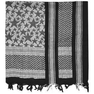 Pañuelo palestino Mil-Tec Stars en negro / blanco