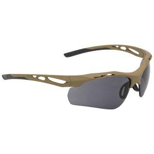 Gafas de sol Swiss Eye Attac con lentes ahumadas + naranjas + transparentes y montura de goma en Coyote