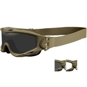Gafas de protección Wiley X Spear con lentes ahumadas + transparentes y montura en Tan