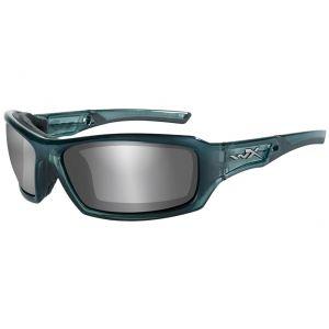 Gafas Wiley X WX Echo con lentes ahumadas en Silver Flash y montura en azul metálico ahumado