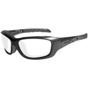 Gafas Wiley X WX Gravity con lentes transparentes y montura en negro brillante