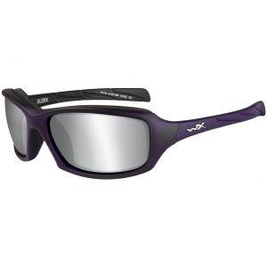 Gafas Wiley X WX Sleek con lentes ahumadas en Silver Flash y montura en violeta mate