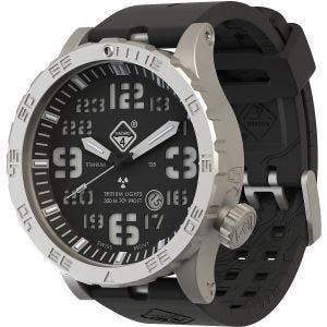 Reloj de titanio con tritio Hazard 4 Heavy Water Diver en BlackTie y detalles en verde y amarillo