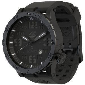 Reloj de titanio con tritio Hazard 4 Heavy Water Diver en Blackout y detalles en azul y rojo