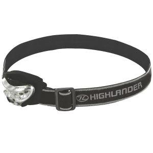 Linterna frontal Highlander Vision de 2 + 1 luces LED en negro