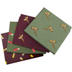 Pack de 4 pañuelos de bolsillo Jack Pyke con diseño de faisanes en Wine / verde