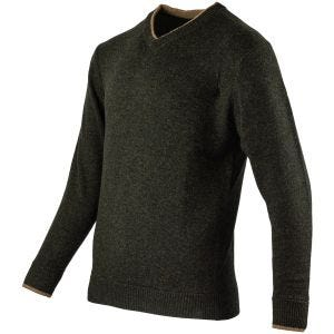 Suéter con cuello de pico Jack Pyke Ashcombe en verde oliva oscuro