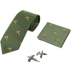 Pack regalo Jack Pyke con corbata, pañuelo y gemelos con diseño de faisanes en verde