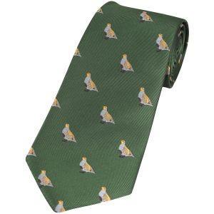 Corbata Jack Pyke con diseño de perdices en verde
