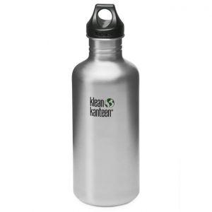 Botella Klean Kanteen Classic con tapón con agujero de 1182 ml en Brushed Stainless