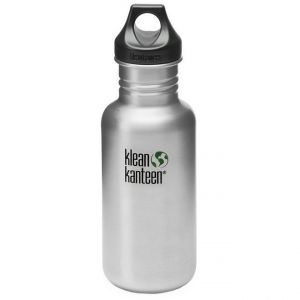 Botella Klean Kanteen Classic con tapón con agujero de 532 ml en Brushed Stainless